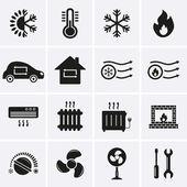 Heizen und kühlen Symbole