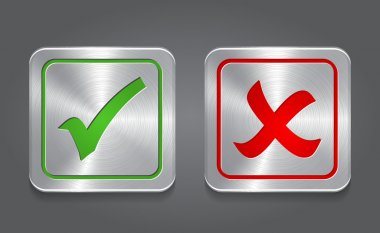 Check mark icon. Metal app button.