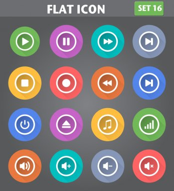 Media Player Icons set in flat style with long shadows.