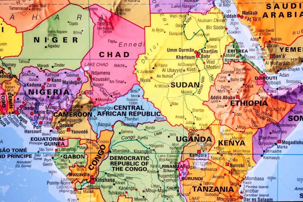 Carte De La Région De Lafrique Centrale Photographie Premek