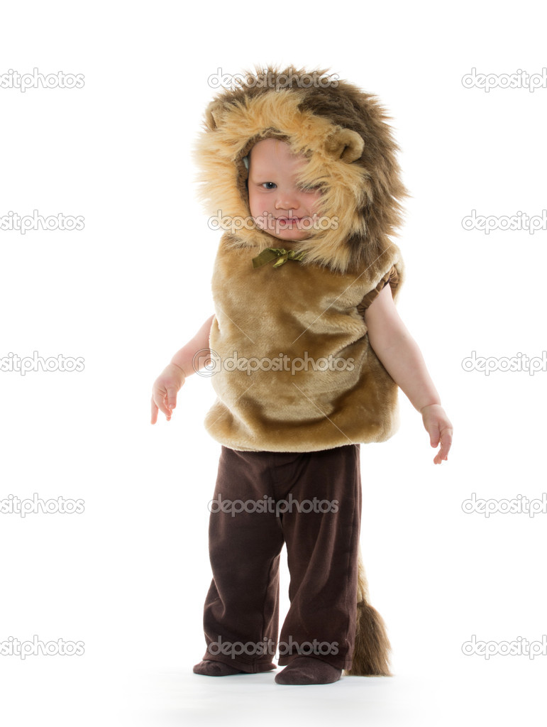16c97a552 18-month-old baby boy in a lion costume for Halloween on white background —  Photo by ...