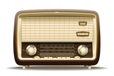 Realistic illustration of an old radio receiver of the last century stock vector
