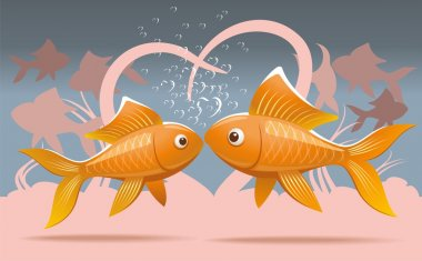 Romantic illustration of two lovers goldfish kissing on the seabed stock vector