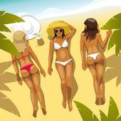 három lány a strandon