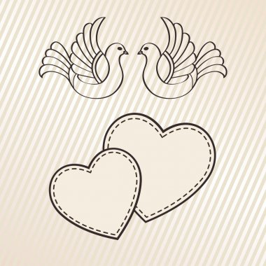 Wedding announcement with doves
