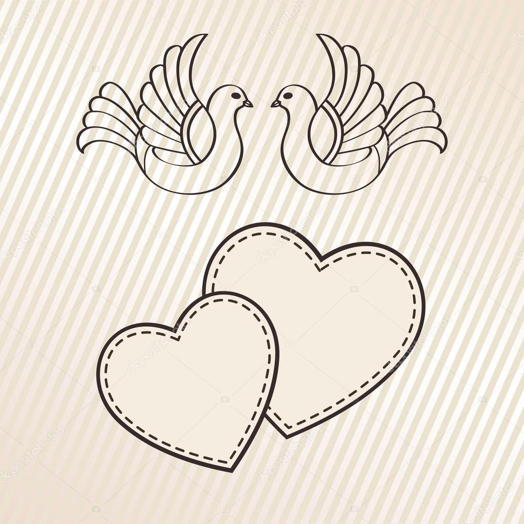 Wedding announcement with doves, vector stock vector