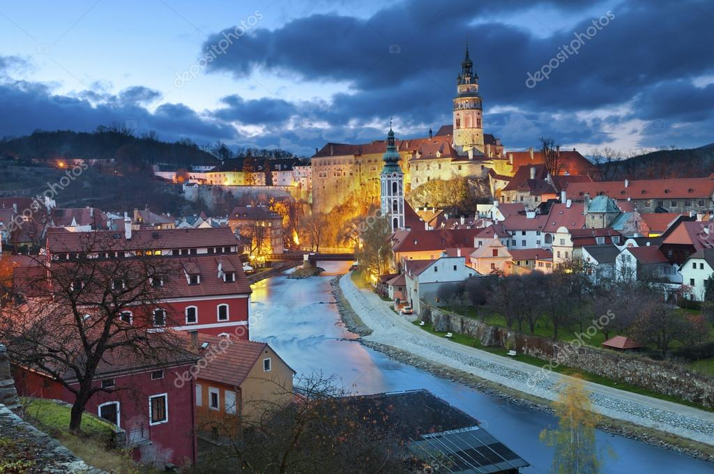Image of Cesky Krumlov, located in southern Czech Republic at twilight.