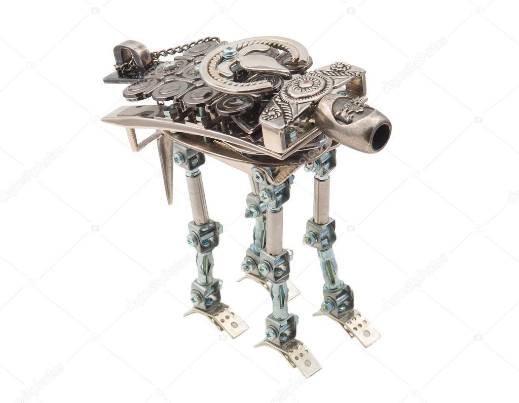 Steampunk robot. Cyberpunk style.