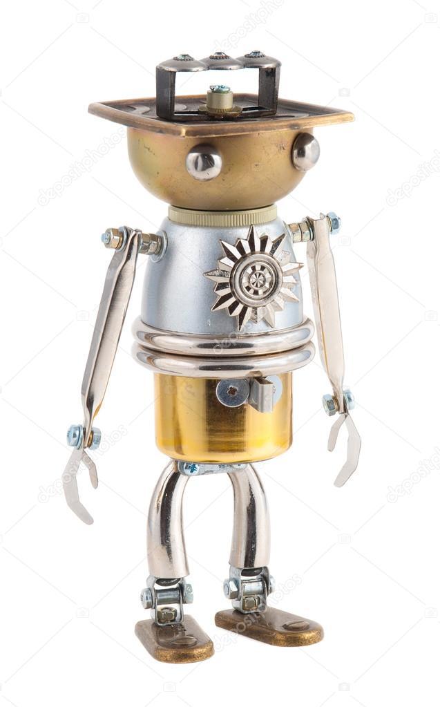 Steampunk robot. Cyberpunk style. Chrome and bronze parts.