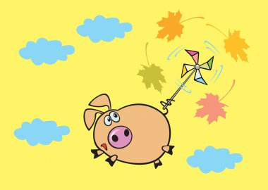 Flying piggy yellow background