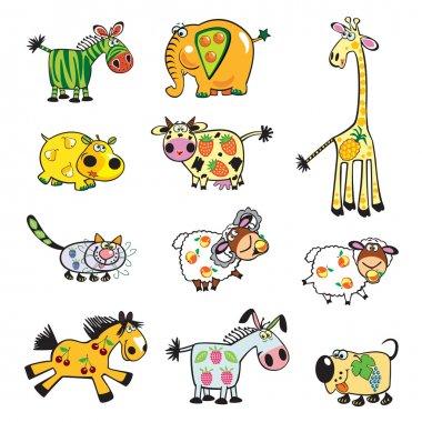 Set with cartoon fruity childish animals
