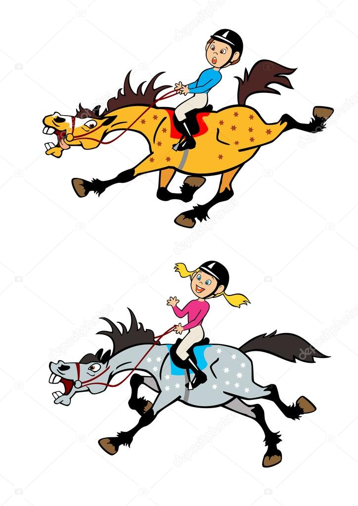 Cartoon Pictures Of Little Boy And Girl Horse Ridersplayful Trotting Galloping Ponieschildren Illustrationvector Images Isolated On White Background