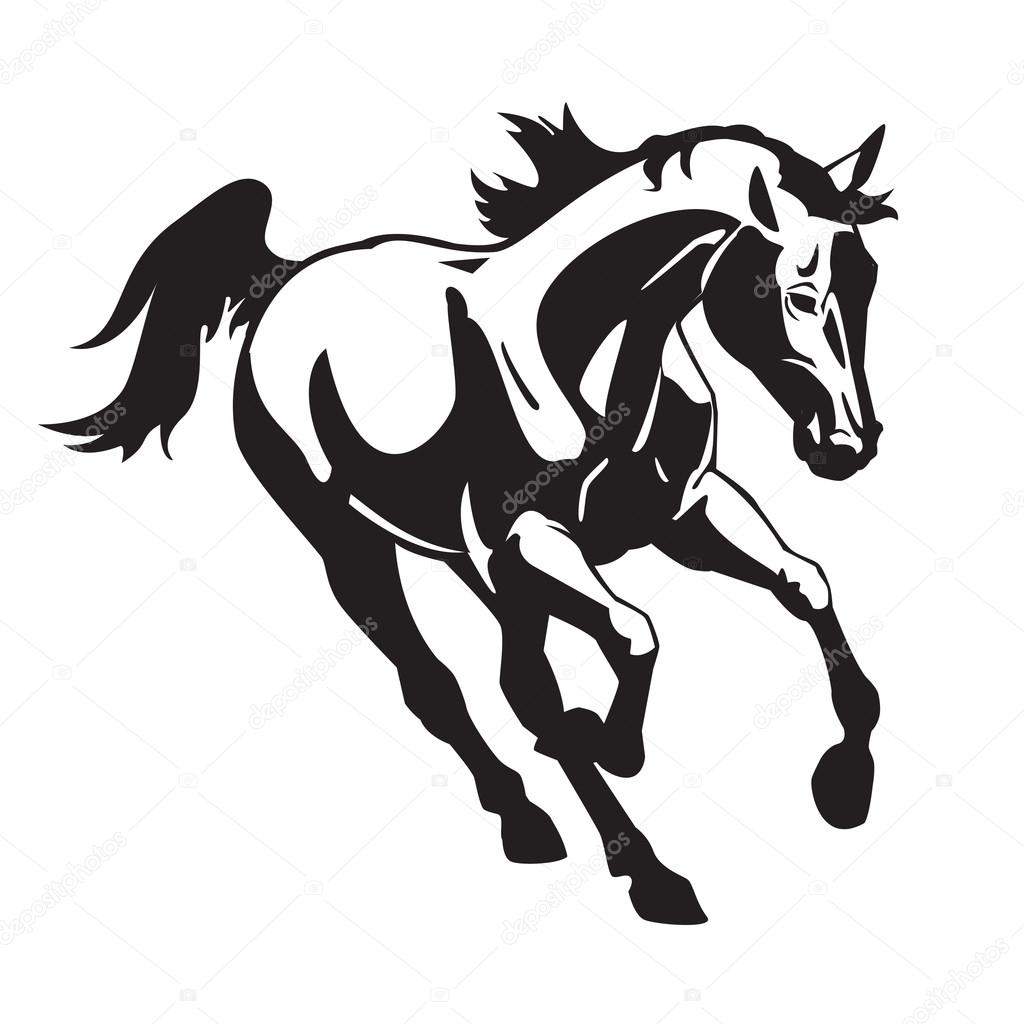 Pictures Running Horse Black And White Image Running Horse Black And White Image Stock Vector C Insima 12929156