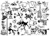 Fotografie Monochrome set mit Cartoon Tiere
