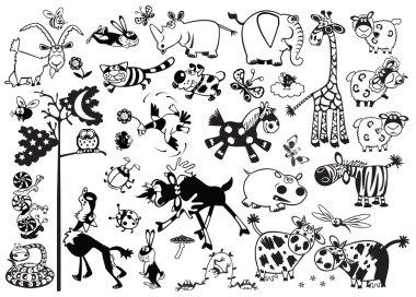Monochrome set with cartoon animals