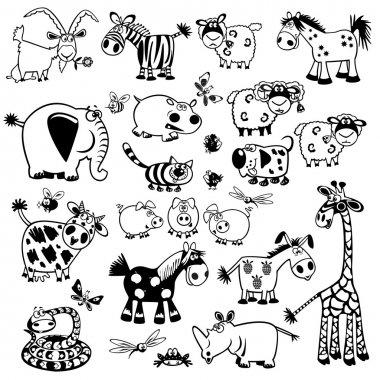 Set with black and white childish animals