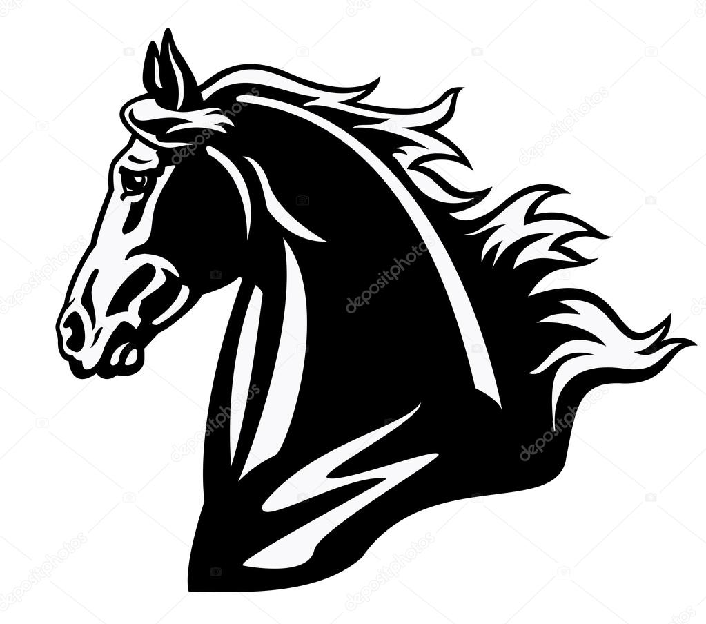 Horse head black and white profile stock vector