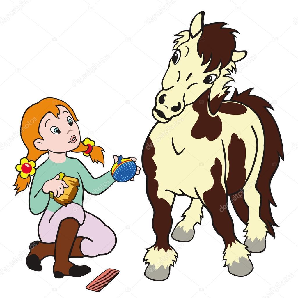 Девушка лошадь пони