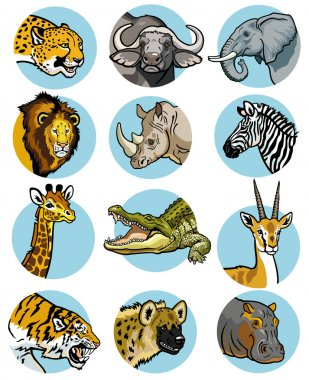 icons set with african animals