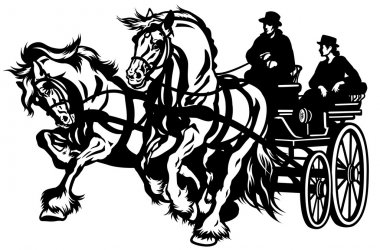 Two horses drawn carriage