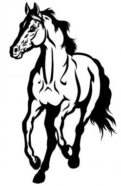 Running Horse Black White