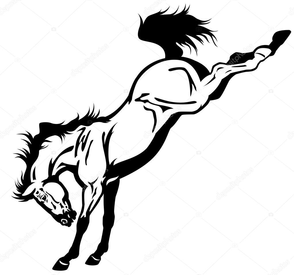 Zur Erschöpfung Pferd Schwarz Weiß Stockvektor Insima 33187123