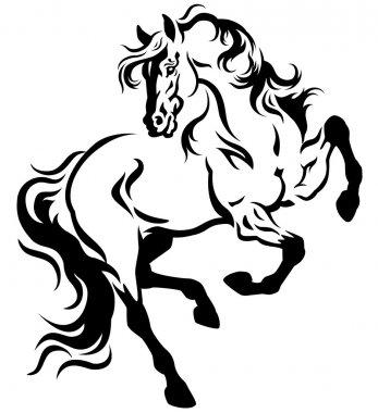 Horse tattoo black white