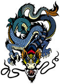 Fotografia tatuaggio drago blu