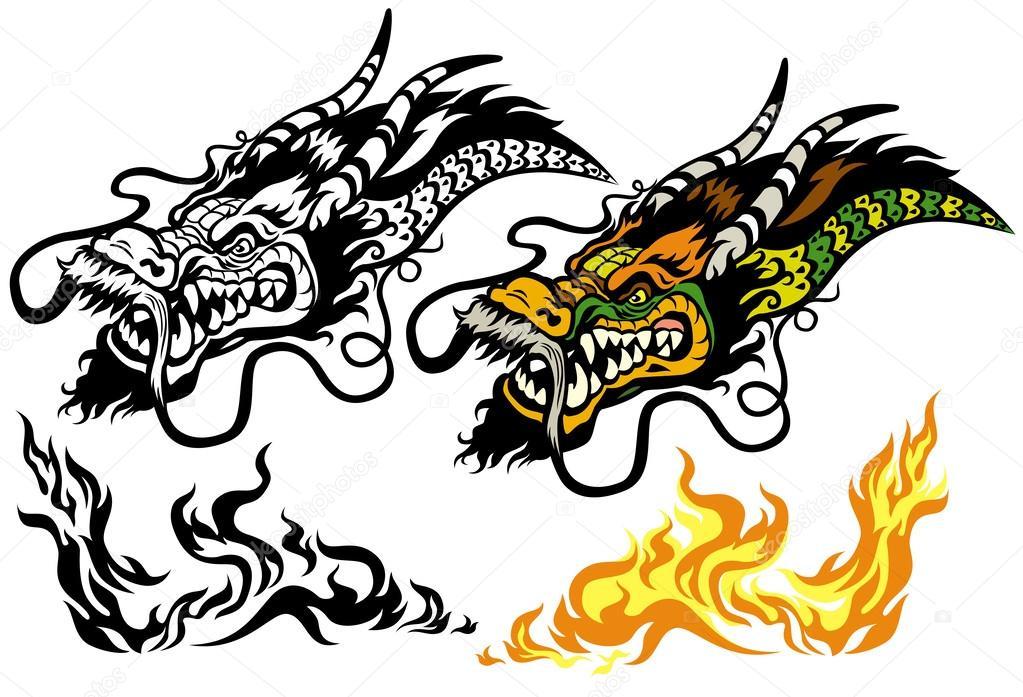 Dragon head tattoo — Stock Vector © insima #34891679