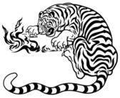 Fotografie Tygr s ohněm černá bílá