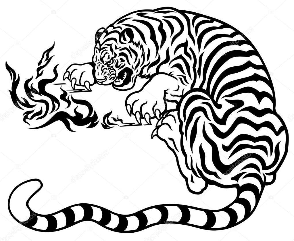 Tigre Con Fuego, Negro, Blanco