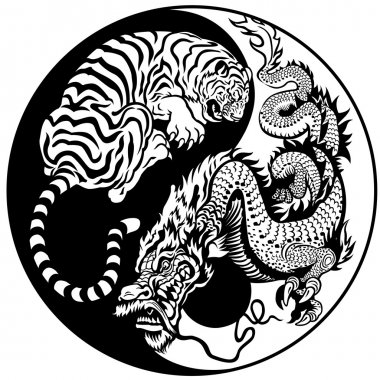 Dragon and tiger yin yang symbol