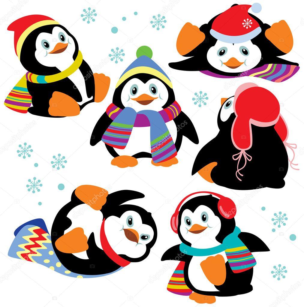 Set with cartoon penguins