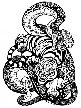 Snake and tiger fighting