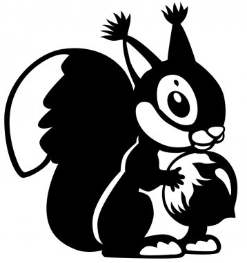 Cartoon squirrel black white