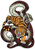 Fényképek kígyó és a tigris küzdelem