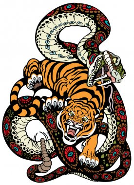 Tiger and snake fighting, tattoo illustration stock vector