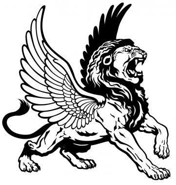 Roaring winged lion black white