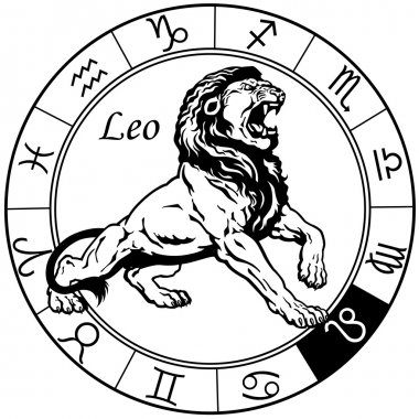 Leo zodiac black white