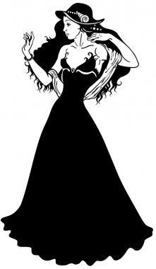 Elegant woman black white