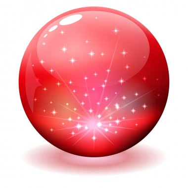 Glossy red sphere with sparks inside
