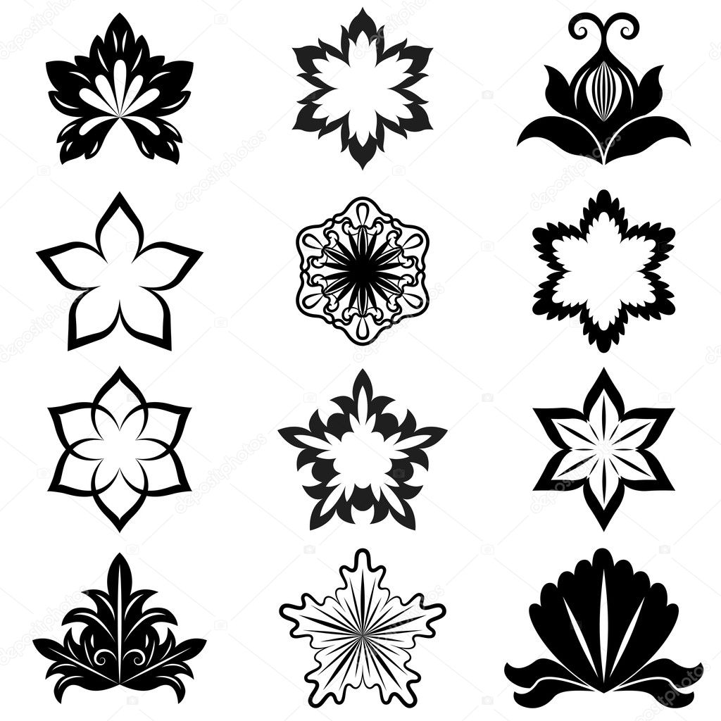 Black And White Flower Design Elements Vector Set Stock Vector