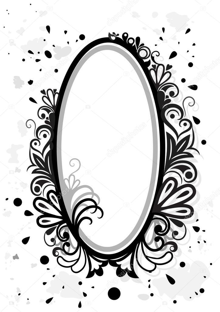 Marco Flores blanco y negro con salpicaduras de pintura — Vector de ...