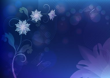 Abstract blue background with flowers and butterflies.