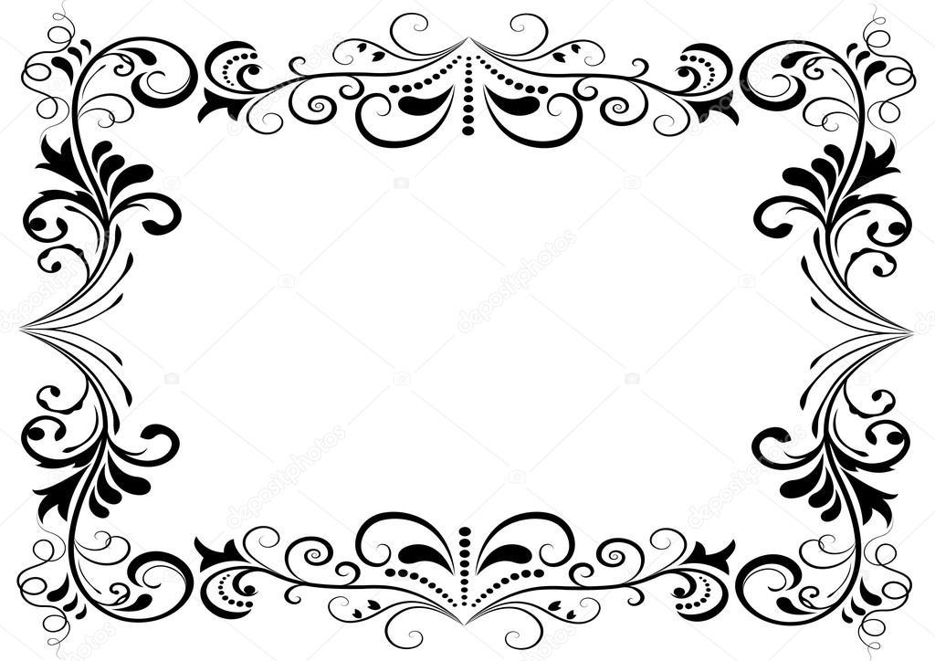 Marco Blanco Y Negro Floral Vector