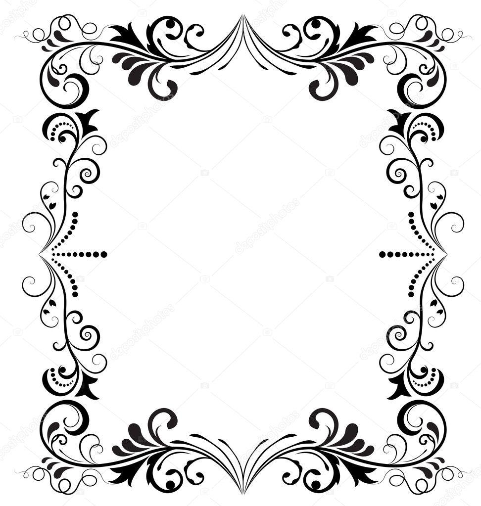 marco blanco y negro vintage vector vertical — Vector de stock ...