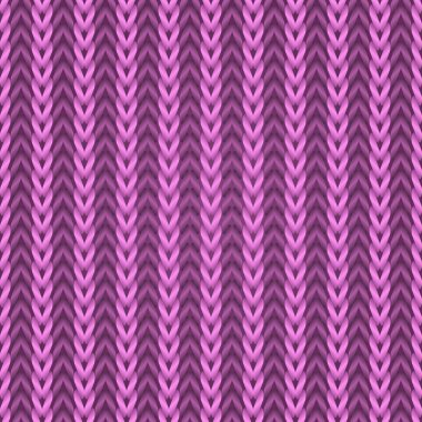 Seamless pink knitting fabric vector pattern.