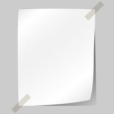 Blank white sheet of paper stuck to the wall. clip art vector