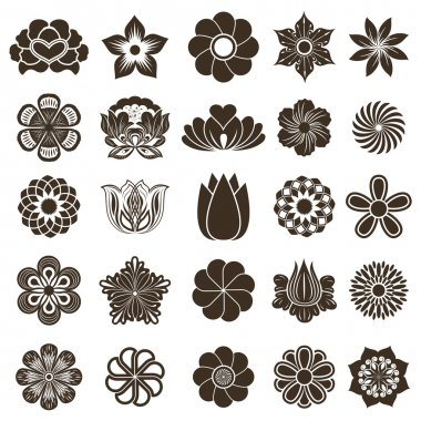 Vintage flower buds vector design elements isolated on white bac