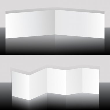 White blank folding booklets vector template.